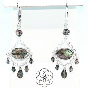 Labradorite and 92.5 sterling silver earrings